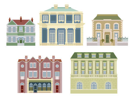 Smart expensive luxury old fashioned houses and other buildings. Stock Vector - 10099704