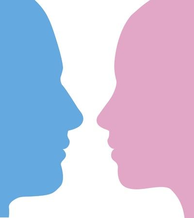 silueta hombre: Caras de perfil de hombre y mujer en silueta Vectores