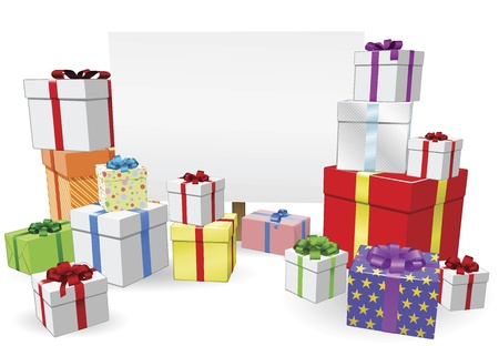 gifts: Teken en geschenken achtergrond met copyspace voor uw bericht Stock Illustratie