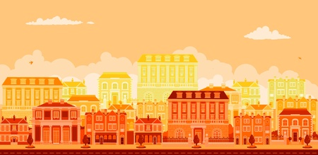 An urban tree lined avenue with smart townhouses in oranges, yellows and reds Stock Vector - 10099709
