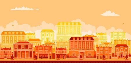 row of houses: Un �rbol urbano forrado Avenida con casas inteligentes en rojos, amarillos y naranjas
