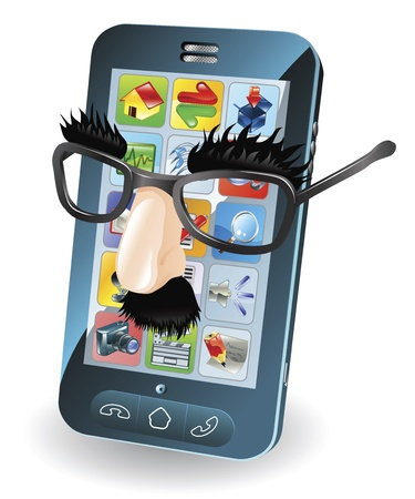 Mobile phone with disguise on, concept for chipping phone or cloning sims etc. Illustration