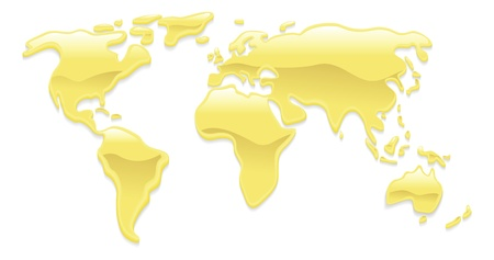A world map with liquid gold droplets forming the continents Vector