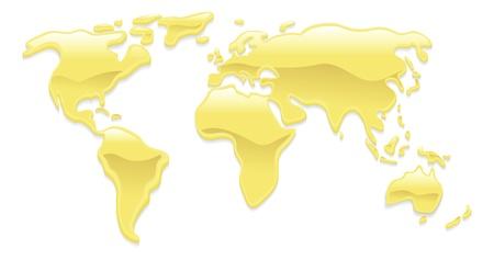 mapas conceptuales: Un mapa del mundo con las gotitas l�quidas de oro que forman los continentes Vectores