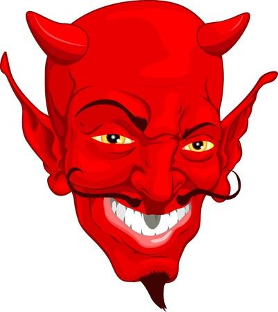 demonio: Una cara de Diablo rojo cartoon estilo
