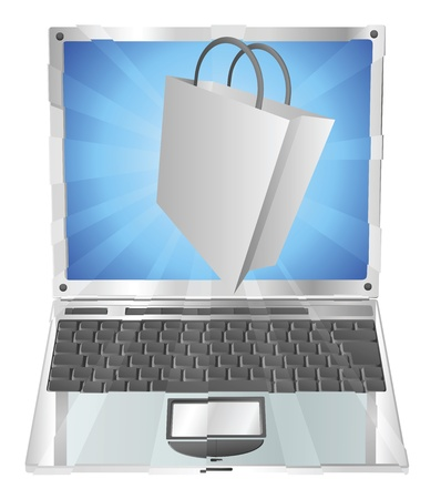 Shopping bag icon coming out of laptop screen online shopping concept Stock Vector - 10180903