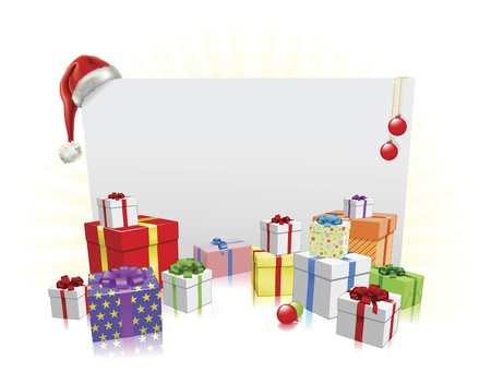 christmas gifts: Christmas sign and gifts background with copyspace for your message