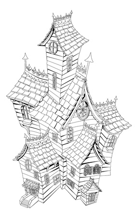 haunted house: Black and white illustration of a haunted ghost house