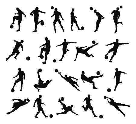 dribbling: Very high quality detailed soccer football player silhouette outlines.