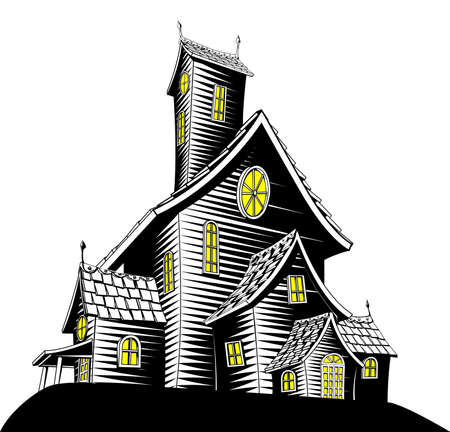 manor: Halloween illustration of a haunted ghost house