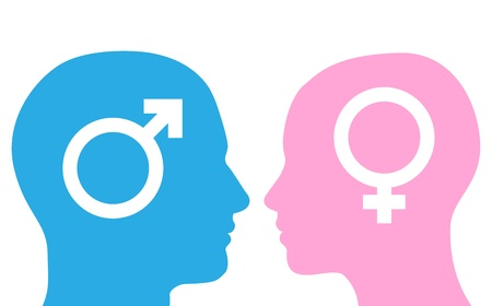 male: Male and female heads facing each other in silhouette with symbols.