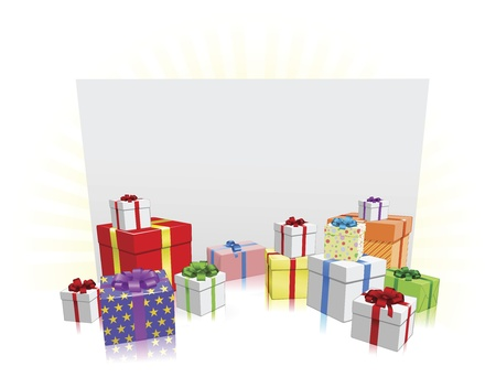 wrap wrapped: Sign and presents background with copyspace for your message
