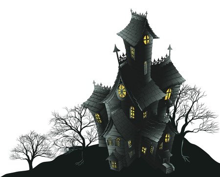 manor: Illustration of a haunted ghost house Illustration