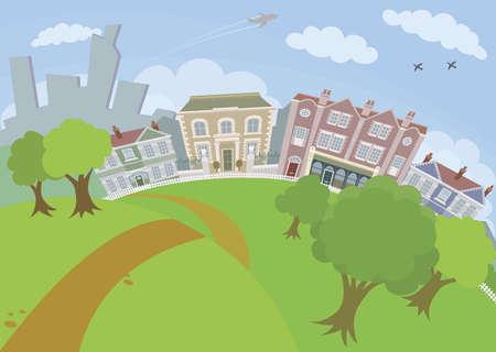 row of houses: Una bonita escena urbana con parque y casas