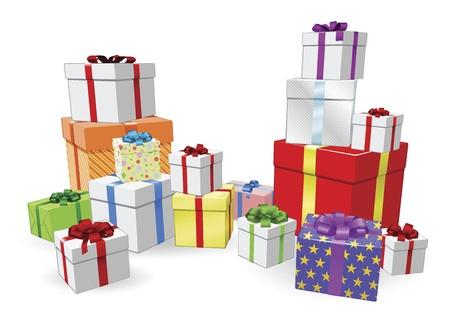 stapel papieren: Veel kleurrijke gewikkeld geschenken voor verjaardag, kerst of andere viering