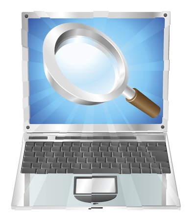 Magnifying glass search icon coming out of laptop screen concept  Stock Vector - 10278289