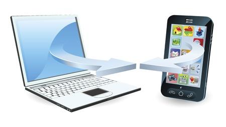 Laptop a smartphone komunikace prostřednictvím bezdrátové technologie konceptu Reklamní fotografie - 10278286