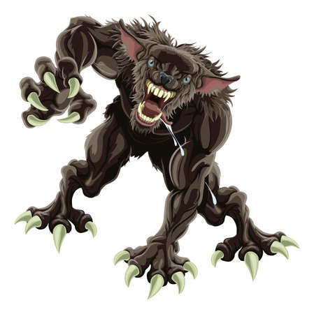 snarling: A fearsome werewolf monster attacking the viewer