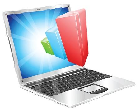 flying money: Gr�fico de barras gr�fico saliendo del concepto de pantalla de ordenador port�til