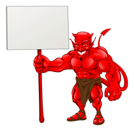 A devil cartoon character illustration standing with sign Vector