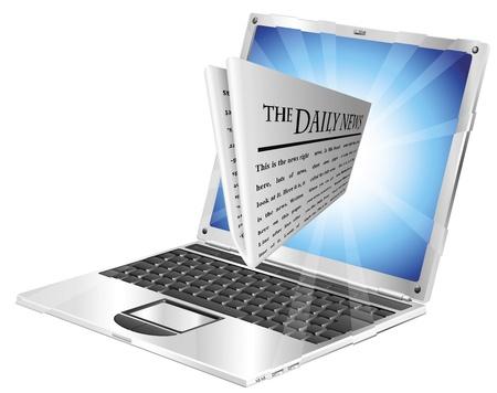 laptop screen: Peri�dico saliendo del concepto de pantalla de ordenador port�til