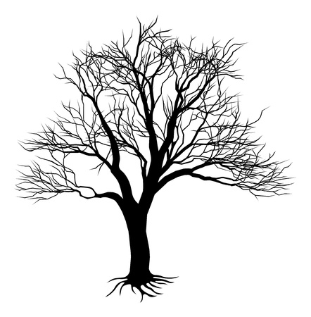 An illustration of a scary bare black tree silhouette Vector