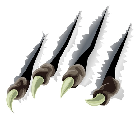 A scary creatures claws tearing through background making slashes or tears Vector