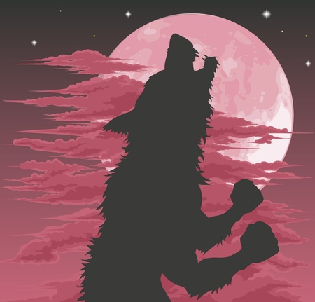 A frightening werewolf silhouette howling at the moon. Halloween illustration. Vector