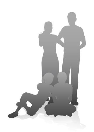genitore figlio: Illustrazione di una famiglia in sagome molto dettagliato Vettoriali