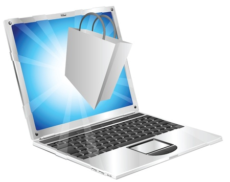 coming out: Shopping bag icon coming out of laptop screen online shopping concept