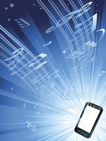 streaming: Blue mobile phone music background with musical notes streaming out of smart phone