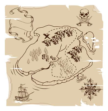 carte trésor: Illustration d'un vieux jeu de pirates plan de l'île treasue