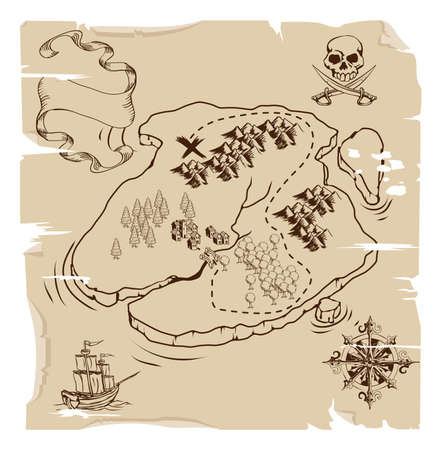 Illustration of an old fashioned pirate island treasue map Vector