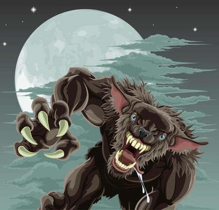 lupo mannaro: Un lupo mannaro spaventoso di fronte a cielo illuminato dalla luna. Halloween illustrazione.