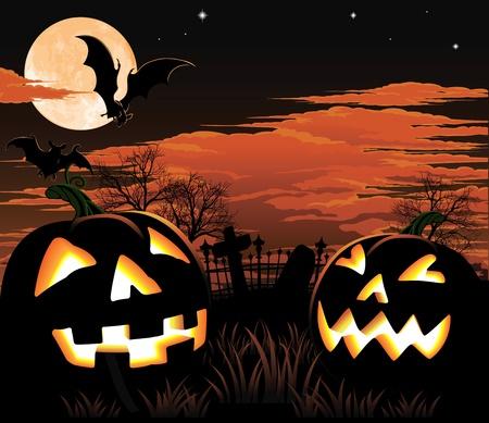 cementerios: Un cementerio, murci�lagos y calabazas de Halloween de fondo