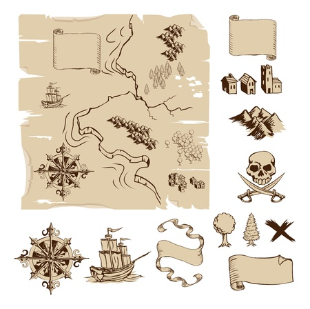 Example map and design elements to make your own fantasy or treasure maps. Includes mountains, buildings, trees, compass etc. Illustration