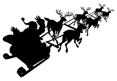 clause: Santa in his Christmas sled or sleigh in silhouette Illustration