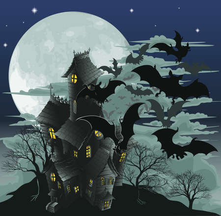 horror: Halloween scene. Illustration of a spooky haunted ghost house with bats flying out of it against the moon. Illustration