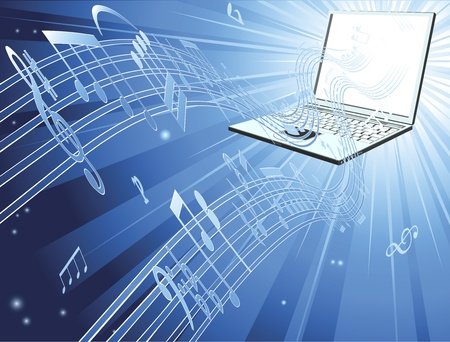 Blue laptop computer music background with musical notes streaming out of laptop