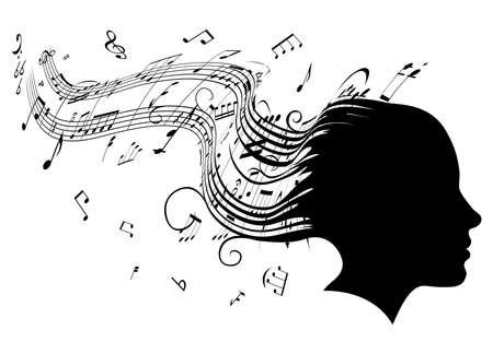 nota musical:  Ilustración conceptual de la cabeza de una mujer de perfil con pelo convirtiendo en notas de partituras musicales Vectores