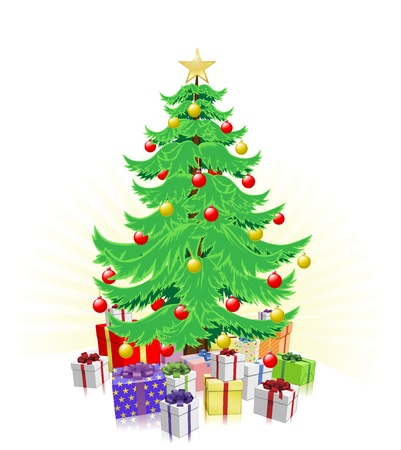 decorated christmas tree: Christmas tree illustration with lots of wrapped gifts