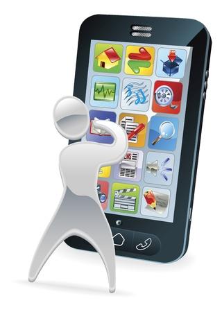 Metallic cartoon mascot character phone concept Stock Vector - 10502948