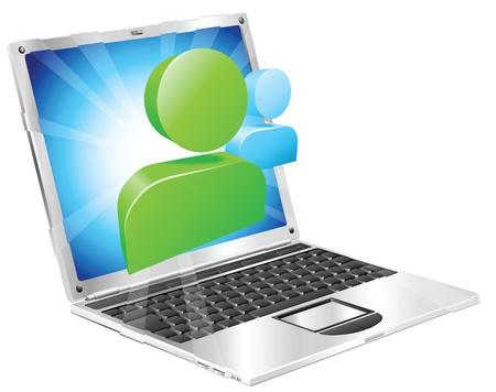 laptop screen: Los medios sociales icono que sale del concepto de ordenador port�til de pantalla