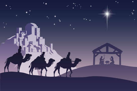 Illustration of traditional Christian Christmas Nativity scene with the three wise men going to meet baby Jesus in the manger. Vector