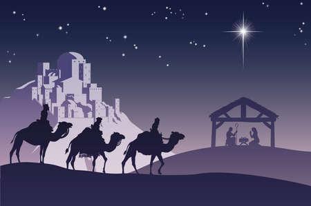 messiah: Illustrazione della tradizionale cristiana Natale presepe con i tre saggi, andando ad per incontrare il bambino Ges� nella mangiatoia.