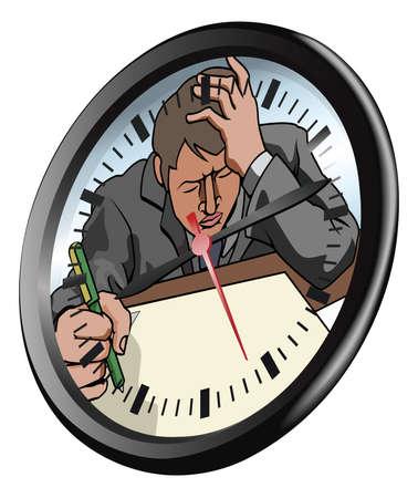 burnout: Konzeptionelle St�ck. Ein Mann, der sehr gestresst und unter Druck arbeiten in Zifferblatt Illustration