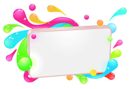 A modern funky colorful sign with swirls and droplets round the frame. Vector