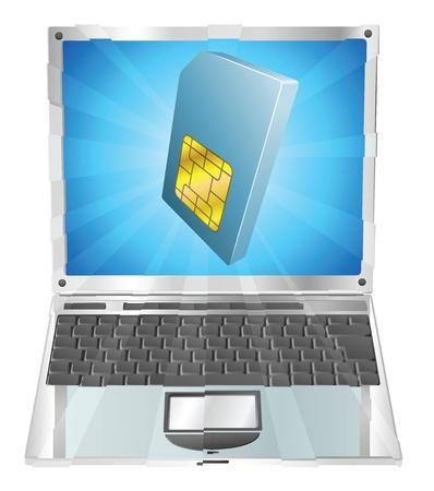 laptop screen: Icono de tarjeta SIM tel�fono saliendo del concepto de pantalla de ordenador port�til