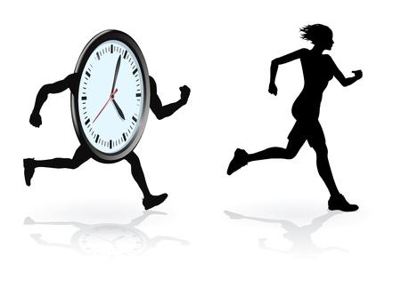 busy person: Ejecuta el dise�o conceptual de reloj. Mujer intentando batir su mejor tiempo o concepto por estar bajo presi�n de tiempo.  Vectores