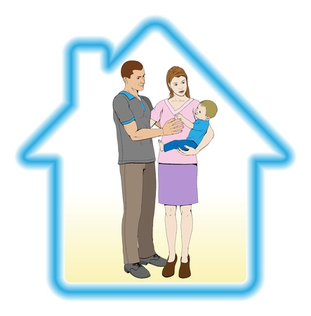 A young family mother father and child home house concept Vector